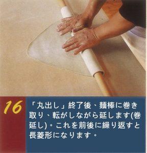 そば打ち工程の中の「四つ出し」。麺棒に巻き付ける。